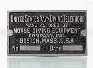 Morse US Navy Diving Telephone Lead Plaque Unused