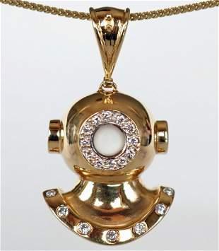 Gold & Diamonds Diving Helmet Pendant 14k Custom Made