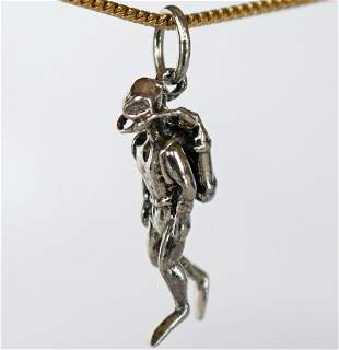 Hard Hat Diver Sterling Silver Necklace Pendant