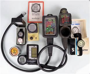 8 Vintage Scuba Dive Computers & Timers