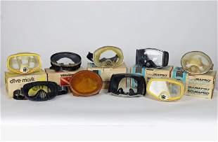 Collection 9 Vintage Scuba Masks Some In Original Boxes
