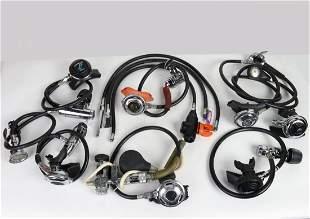 Grouping Of Vintage Single Hose Scuba Diving Regulators