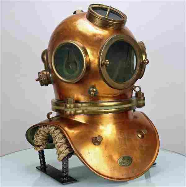 French CH Petit 4 Light 3 Bolt Antique Diving Helmet