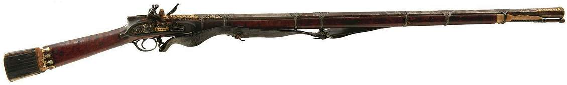 AN EARLY 19TH CENTURY 14-BORE TURKISH FLINTLOCK RIFLE,