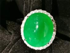 18K Gold Green jadeite Ring