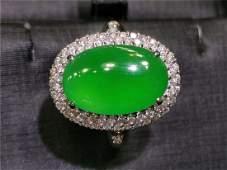 18K Gold Inlaid Diamond Green Jadeite Ring
