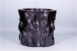 CHINESE ZITAN CARVED BURL WOOD BRUSHPOT QING DYNASTY