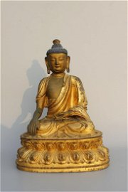 CHINESE LACQUER BRONZE BUDDHA MING DYNASTY