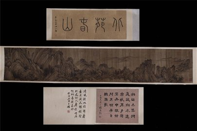 LANDSCAPE SILK HANGING SCROLL BY WANG MENG FOREIGN