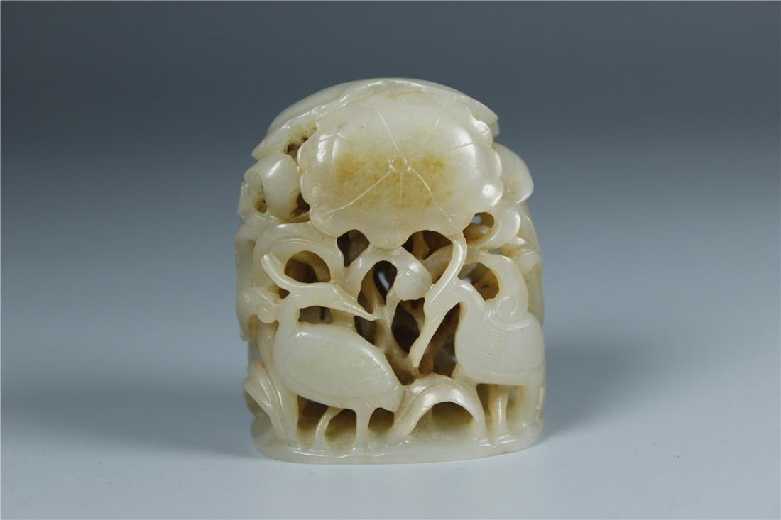 CHINESE CARVED JADE TOP MING DYNASTY
