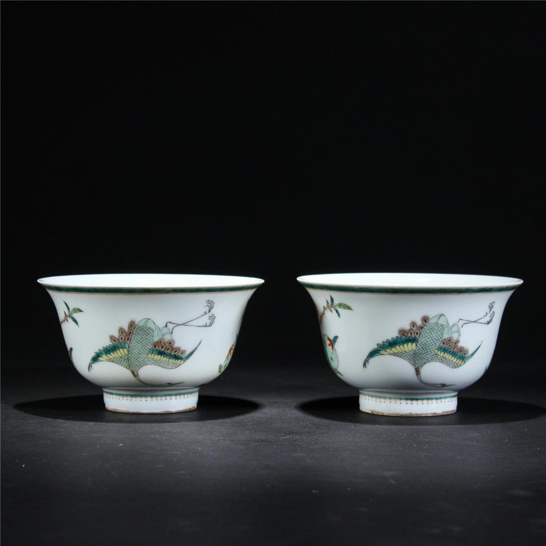 CHINESE PAIR FAMILLE ROSE PORCELAIN BOWL QING DYNASTY