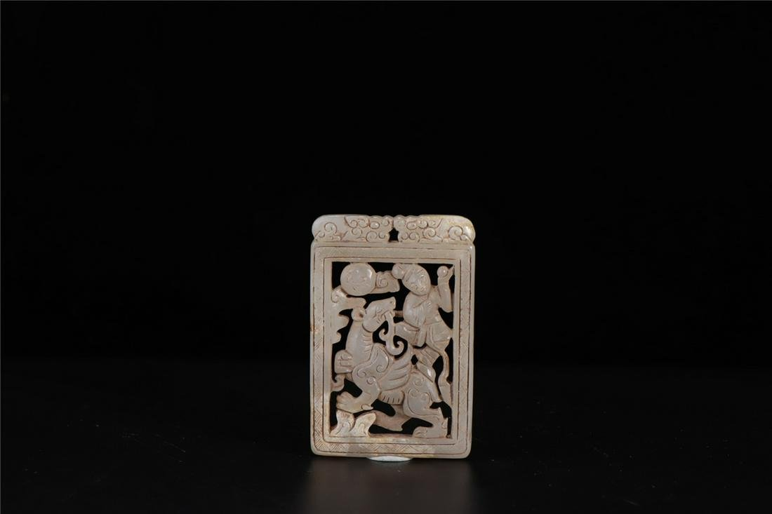 CHINESE WHITE CARVED JADE CHILD PENDANT MING DYNASTY
