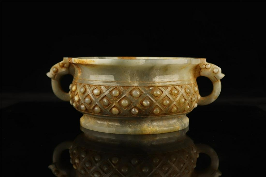 CHINESE CARVED JADE CENSER QING DYNASTY