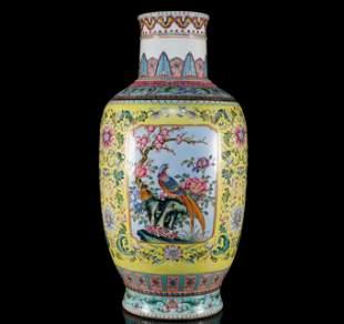 A Superb Yellow Famille-Rose Birdflower Vase.