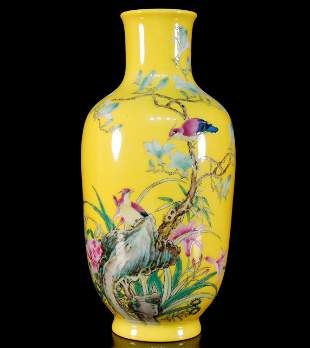 A Yellow Famille-Rose Flowerbirds Vase