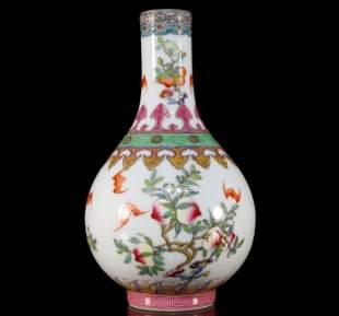 A Rare Famille-Rose Fruits Vase