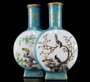 A Pair of Splendid Blue Famille-Rose Vases