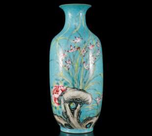 A Supreme Blue Famille-Rose Flowery Vase