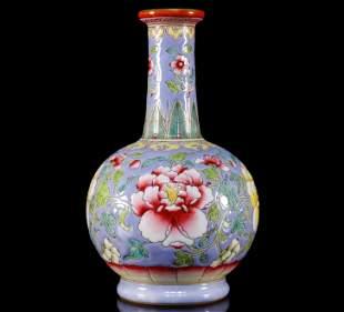 A Supreme Famille-Rose Flowery Vase
