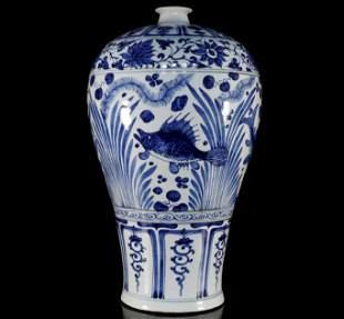 Blue and White Flower Fish and Algae Grain Vase