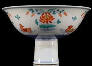 Wucai Flower and Bird Stem Bowl