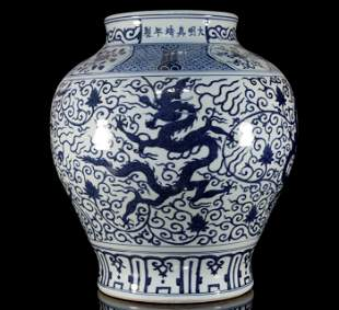 Blue and White Flower Dragon Jar