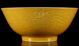 Yellow-Glazed Dragon Bowl