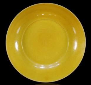 Yellow-Glazed Dragon Plate