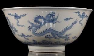 Blue and White Cloud-Dragon Bowl