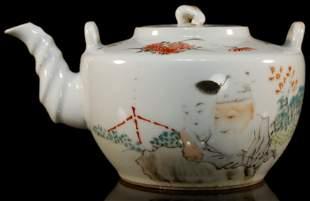 A Fine WuCai StoryFigure Teapot
