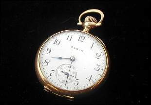 Elgin 14k Gold Pocket Watch Case 0 Size 1907