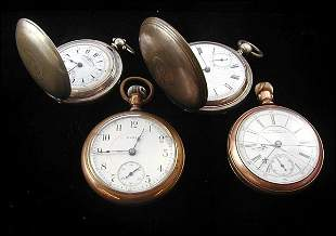 4 Pocket Watches Including Elgin and Waltham