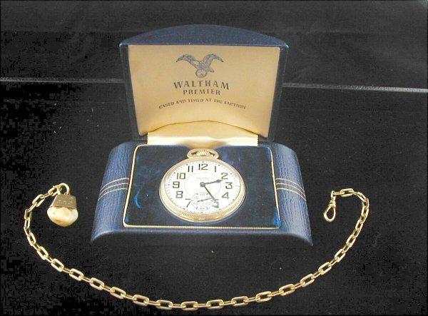 18: Waltham Premier Pocket Watch In Original Box