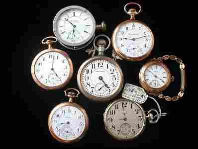228: 7 Pocket Watches: Waltham, Rockford & Illinois