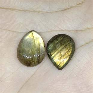 13.00 ct Natural Green Labradorite Pair