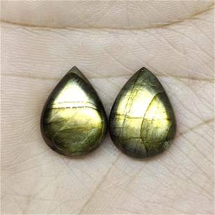 15.95 ct Natural Green Labradorite Pair