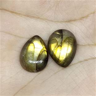 15.55 ct Natural Green Labradorite Pair