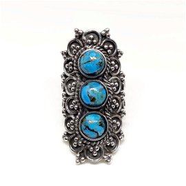 Natural Copper Turquoise 92.5 Sterling Silver Ring
