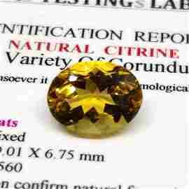 4.25ct Certified Top Grade Natural Citrine