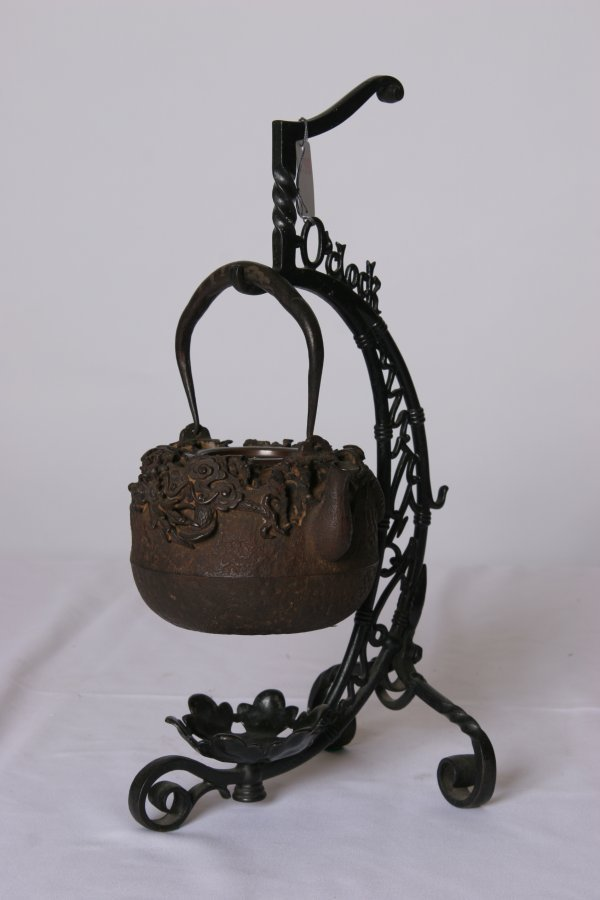 5: Chinese Bronze and Iron Tea Kettle on Stand w/Dragon
