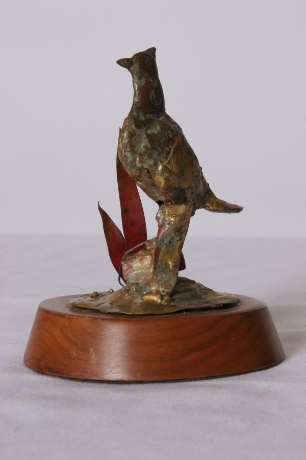 6: Mixed Metal Sculpture of a Pheasant: Mounted on a Wo