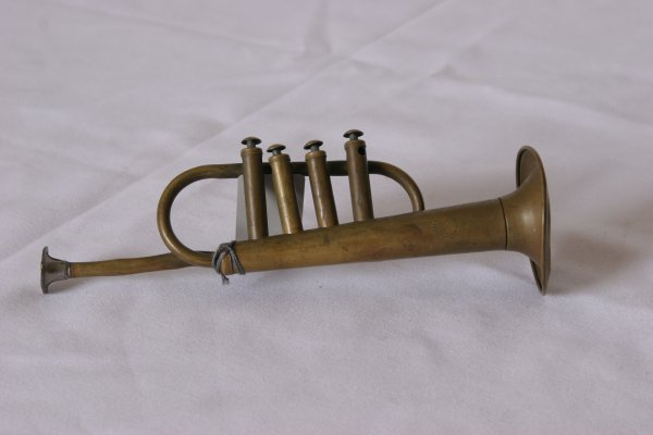 """8: Miniature Bugle: Marked: Made in France. Size: 9"""" in"""