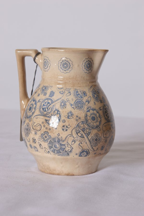 10: Pottery Pitcher Transfer Decorated: 19th Century -