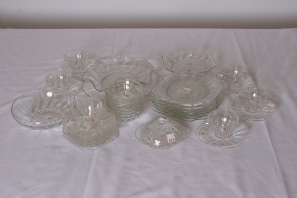 11: Beaded Glass Breakfast Set: Includes 6 Cups & Sauce
