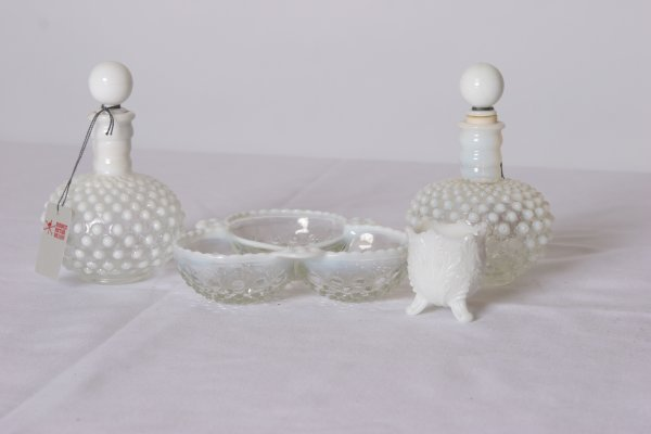 13: Glass Grouping: Includes 2 Hobnail Opalescent Bottl