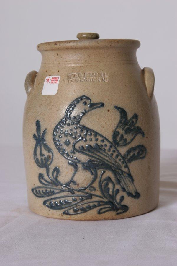14: American Stoneware Covered Crock: Large Cobalt Bird