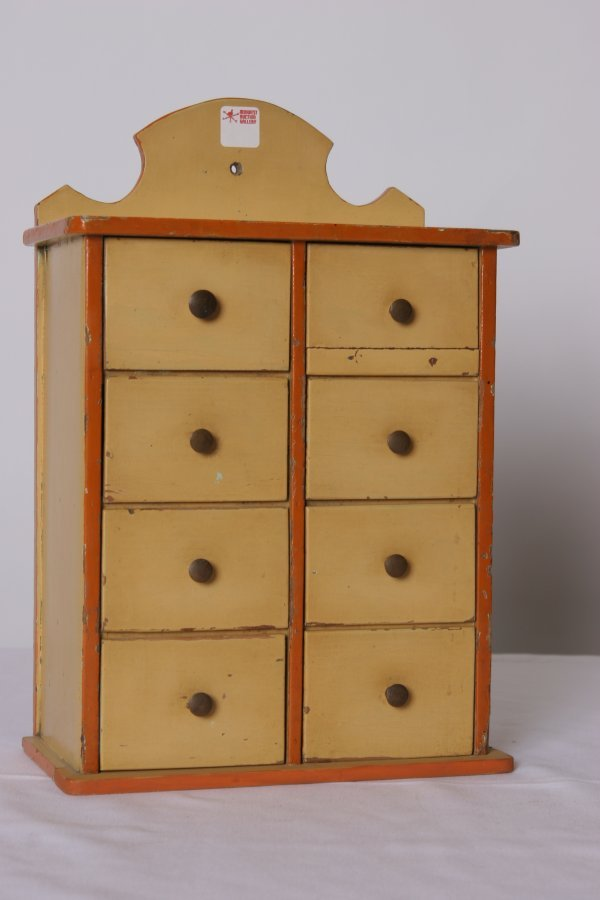15: American Painted Spice Box: Old Salmon and Orange P