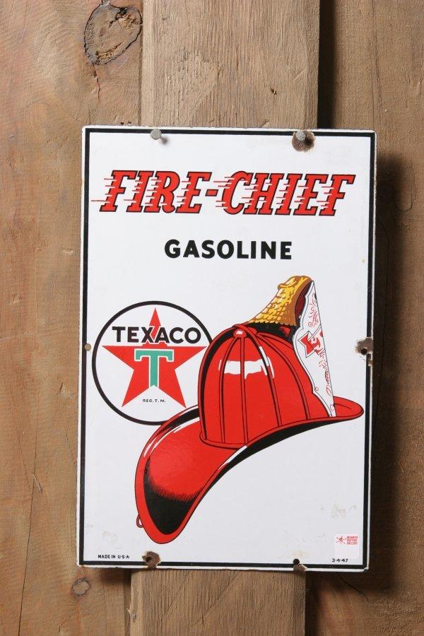 21: Texaco Fire Chief Gasoline Sign. Dated: 3-4-47. Siz