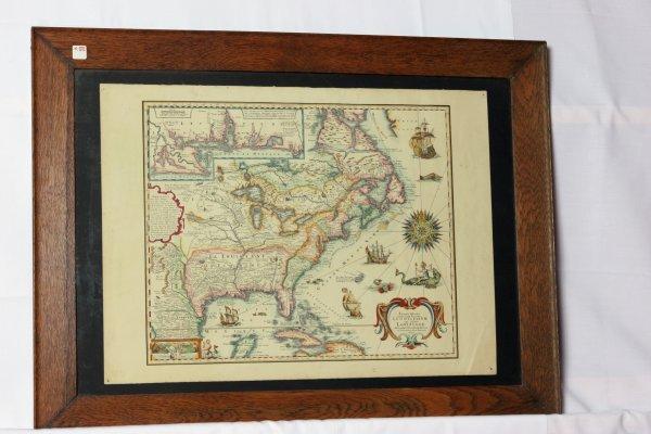 183: Map of America Dated 1698 on Van Gelder Zonen Heav