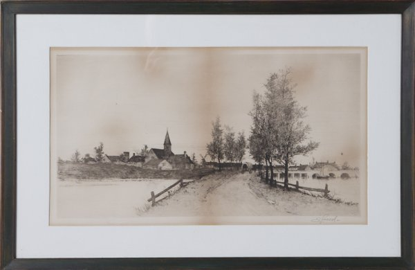 8: Large Etching, 19th Century, Signed: ? Reed
